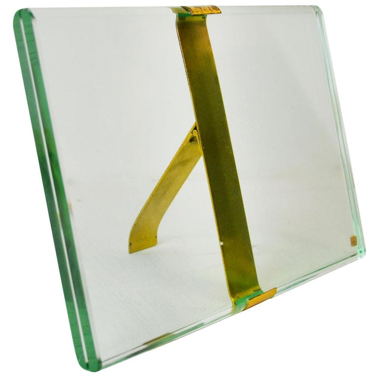 20th Century Max Ingrand Picture Frame for Fontana Arte Mod 1371 Glass and Brass For Sale