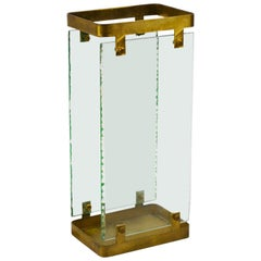 20th Century Max Ingrand Umbrella Stand for Fontana Arte in Brass and Glass