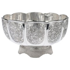 20th Century Meiji Japanese Solid Silver Butterfly Bowl, circa 1900
