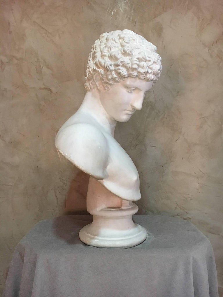 French 20th Century Men Plaster Bust Apollo, 1940s For Sale