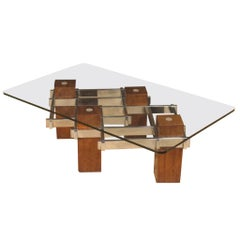 20th Century Metal Wood and Crystal Italian Design Coffee Table, 1970