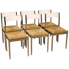 20th Century Metal Wood and Straw Italian Design 6 Chairs, 1970