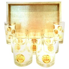 20th Century Metallic Gold Python Tray and 22-Karat Gold Drinks Set of 10