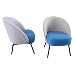 20th Century Mid-Century Modern Blue Wool Club Lounge Chairs Theo Ruth Style