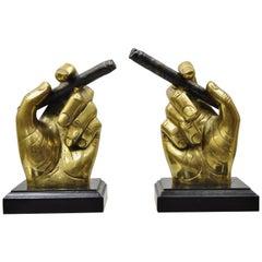 20th Century Mid-Century Modern Italian Style Bronze Brass Hand & Cigar Bookends