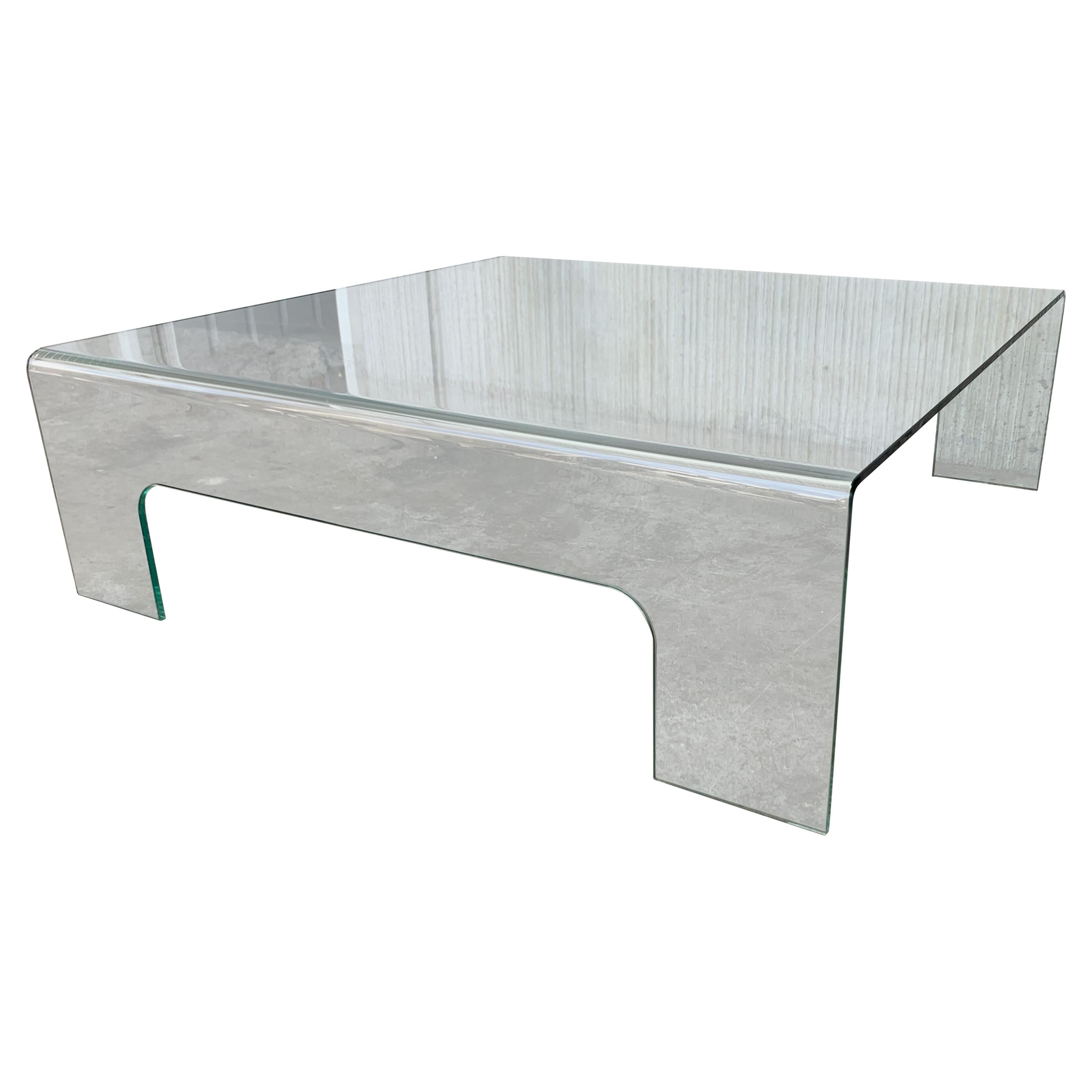 20th Century Mid-Century Modern Square Curved Glass Coffee Table