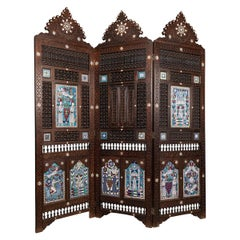 20th Century Middle-Eastern Folding Screen with Enamel Panels