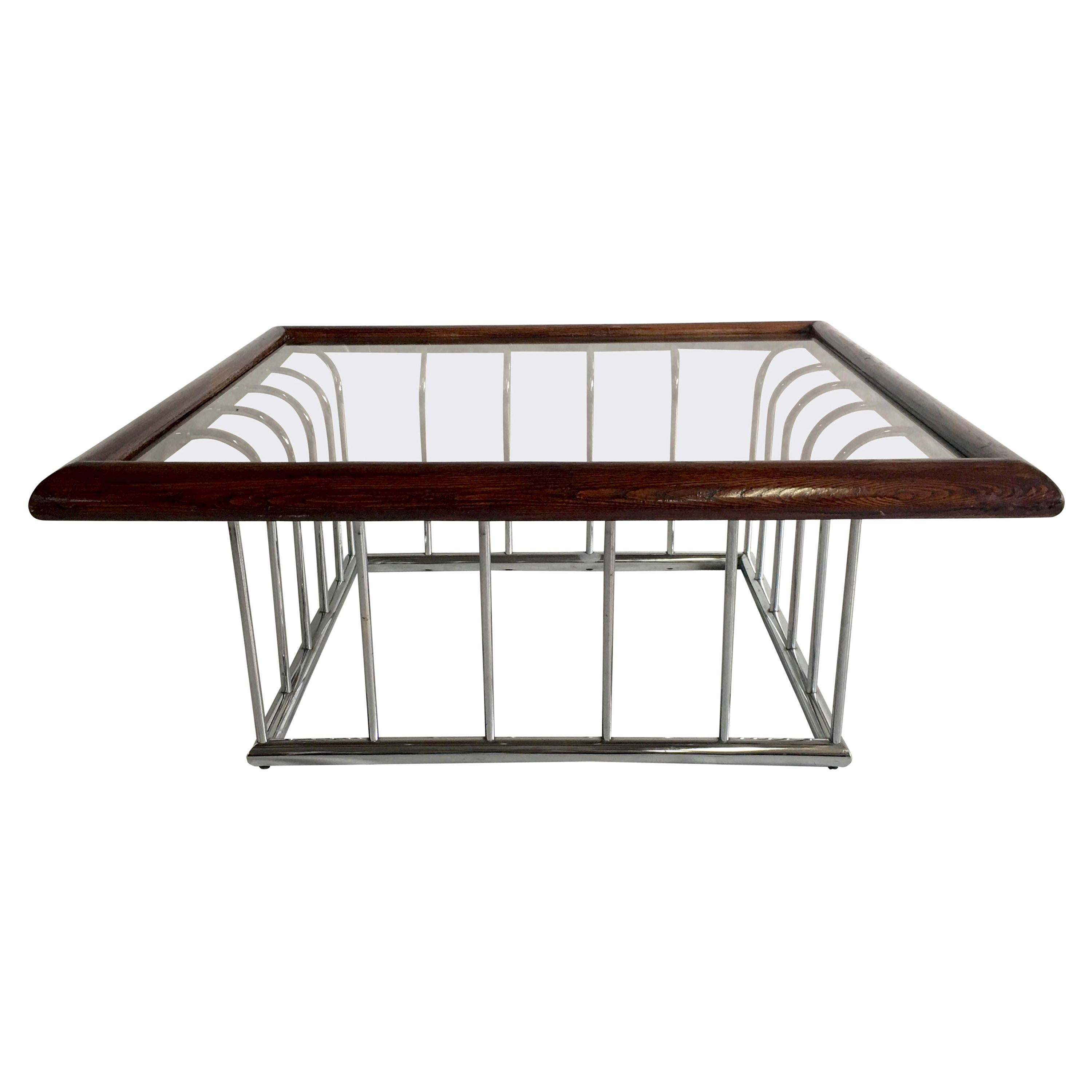 20th Century Milo Baughman Style Wood and Chrome Smoked Glass Top Coffee Table