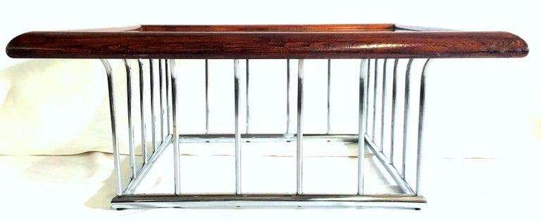 Mid-Century Modern 20th Century Milo Baughman Wood and Chrome Smoked Glass Top Cocktail Table For Sale