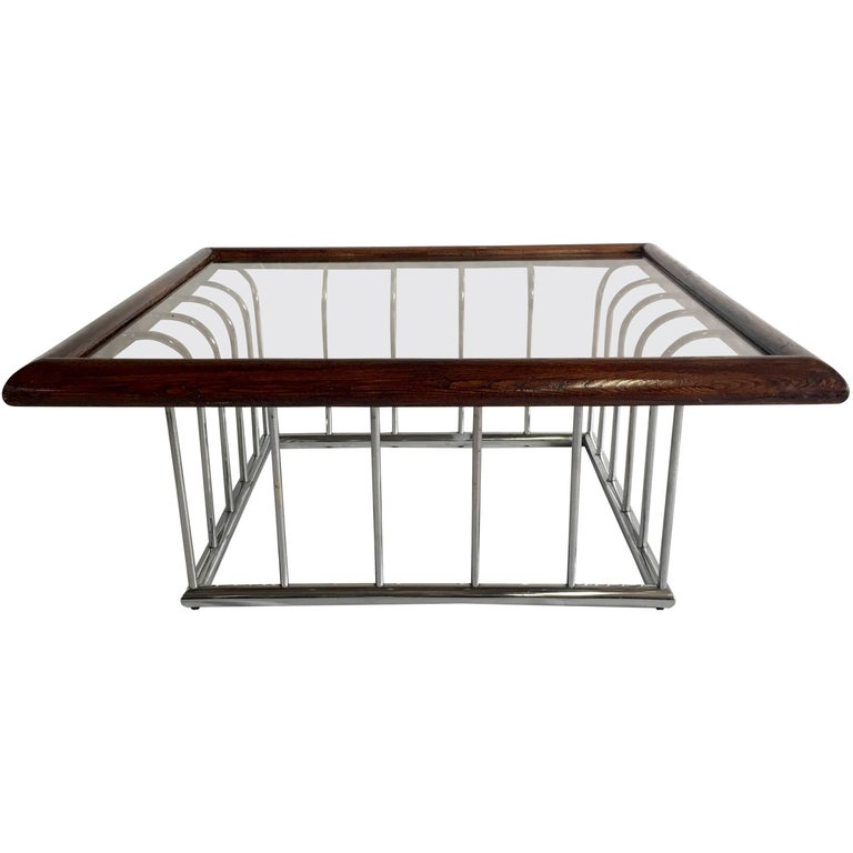 American 20th Century Milo Baughman Wood and Chrome Smoked Glass Top Cocktail Table For Sale