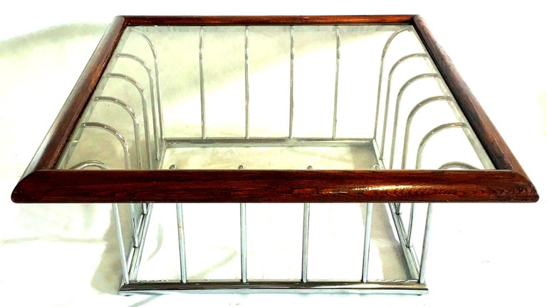 20th Century Milo Baughman Wood and Chrome Smoked Glass Top Cocktail Table In Good Condition For Sale In West Palm Beach, FL