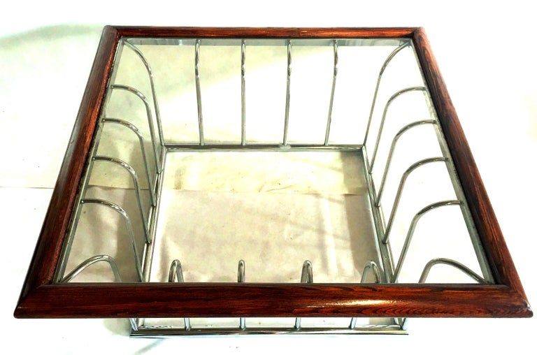 20th Century Milo Baughman Wood and Chrome Smoked Glass Top Cocktail Table For Sale 1