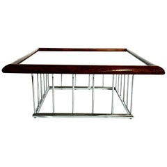 20th Century Milo Baughman Style Wood and Chrome Smoked Glass Top Cocktail Table
