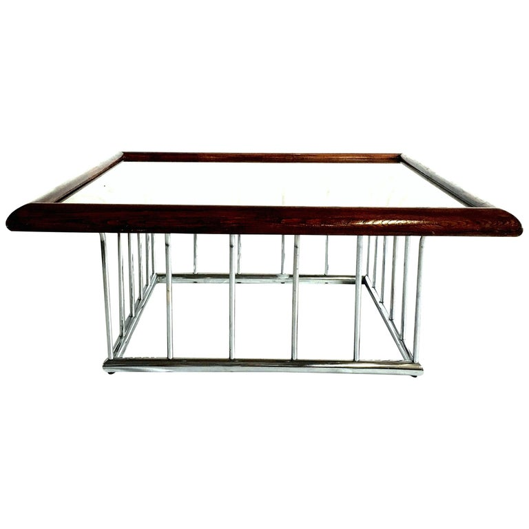 20th Century Milo Baughman Wood and Chrome Smoked Glass Top Cocktail Table For Sale