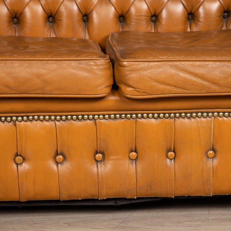 20th Century Miniature Chesterfield Leather Sofa, circa 1920 5