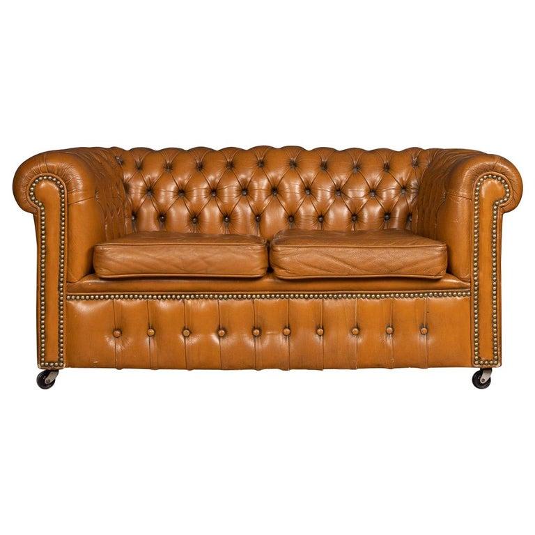 20th Century Miniature Chesterfield Leather Sofa, circa 1920