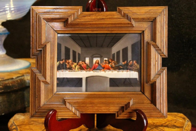 A lovely early 20th century painting on porcelain miniature of The last supper after Leonardo Da Vinci in Italian Cenacolo. This  Swiss French manufacture rectangular porcelain plaque, depicting one of the most important Renaissance works of art,