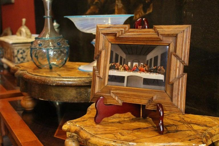 Renaissance 20th Century Miniature Print Porcelain Plaque The Last Supper after Leonardo For Sale