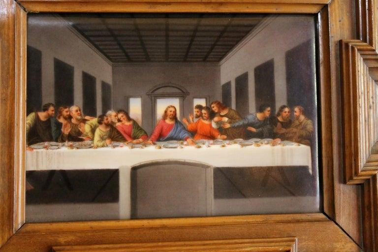 Swiss 20th Century Miniature Print Porcelain Plaque The Last Supper after Leonardo For Sale