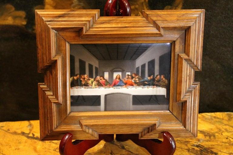 Carved 20th Century Miniature Print Porcelain Plaque The Last Supper after Leonardo For Sale