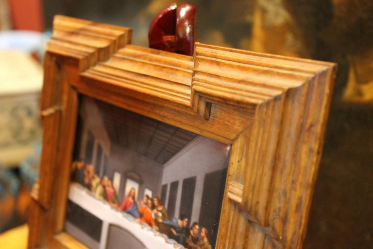 20th Century Miniature Print Porcelain Plaque The Last Supper after Leonardo In Good Condition For Sale In Firenze, IT