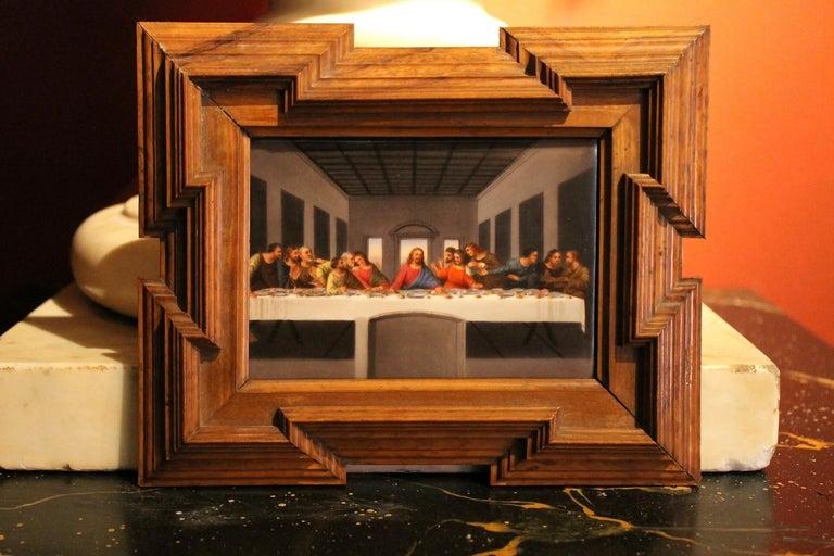 20th Century Miniature Print Porcelain Plaque The Last Supper after Leonardo For Sale 1