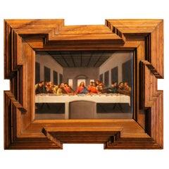 20th Century Miniature Print Porcelain Plaque The Last Supper after Leonardo
