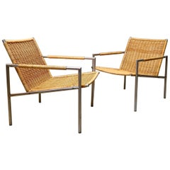 20th Century Minimalist Martin Visser Rattan Lounge Chairs for Spectrum, 1960