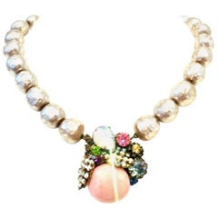 20th Century Miriam Haskell Japanese Pearl & Austrian Crystal Choker Necklace