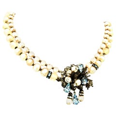 20th Century Miriam Haskell Style Silver, Faux Pearl Bead & Crystal Necklace.