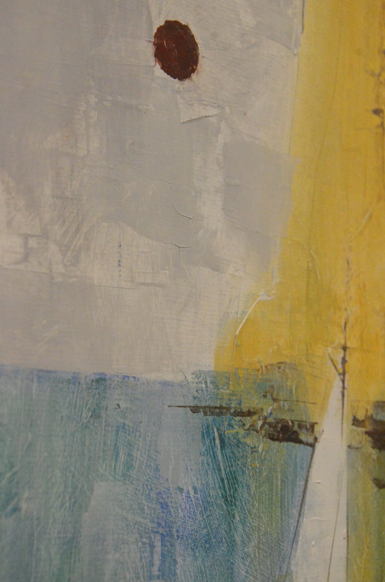Pat Bowers Seascape Blue, Green & Yellow Mixed-Media Abstract Painting on Paper For Sale 5