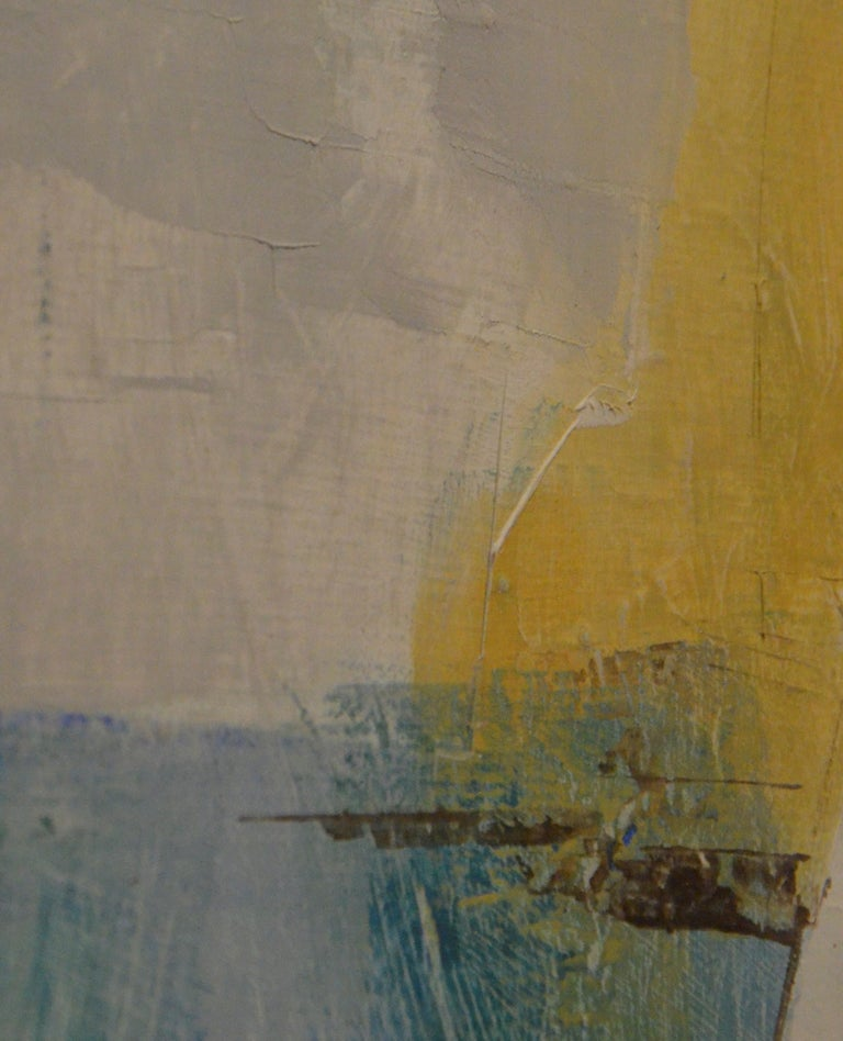 Pat Bowers Seascape Blue, Green & Yellow Mixed-Media Abstract Painting on Paper For Sale 6