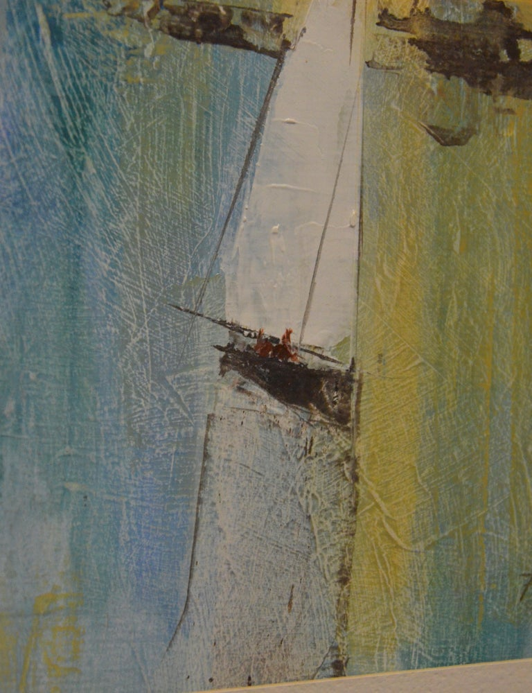 Pat Bowers Seascape Blue, Green & Yellow Mixed-Media Abstract Painting on Paper For Sale 7