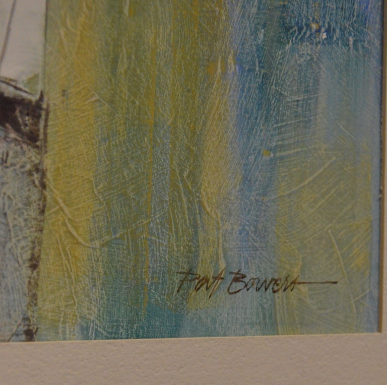 Pat Bowers Seascape Blue, Green & Yellow Mixed-Media Abstract Painting on Paper For Sale 8
