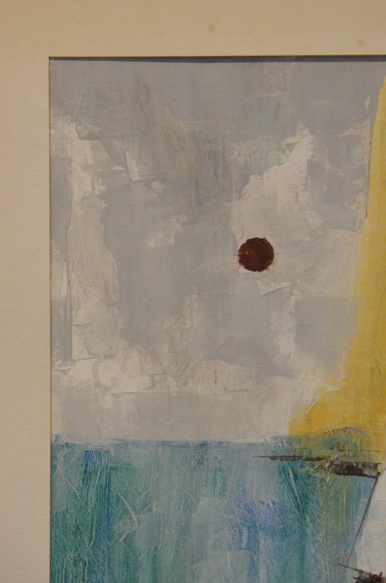 Offered is a signed 20th century mixed-media painting on paper of a seascape by Pat Bowers (born 1937) in greens, blues, yellows and black. The piece is more or less an abstract depiction of a seascape, moon or sun and a sail boat. Bowers has used