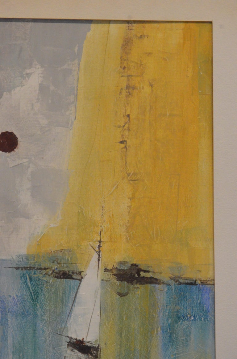 Mid-Century Modern Pat Bowers Seascape Blue, Green & Yellow Mixed-Media Abstract Painting on Paper For Sale