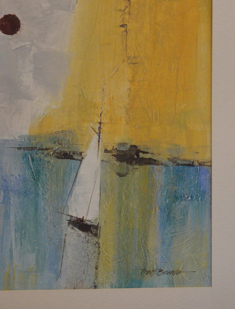 American Pat Bowers Seascape Blue, Green & Yellow Mixed-Media Abstract Painting on Paper For Sale