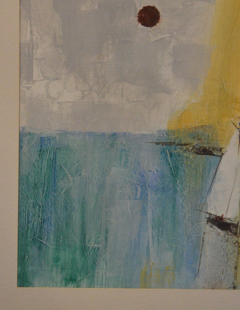 Pat Bowers Seascape Blue, Green & Yellow Mixed-Media Abstract Painting on Paper In Good Condition For Sale In Houston, TX