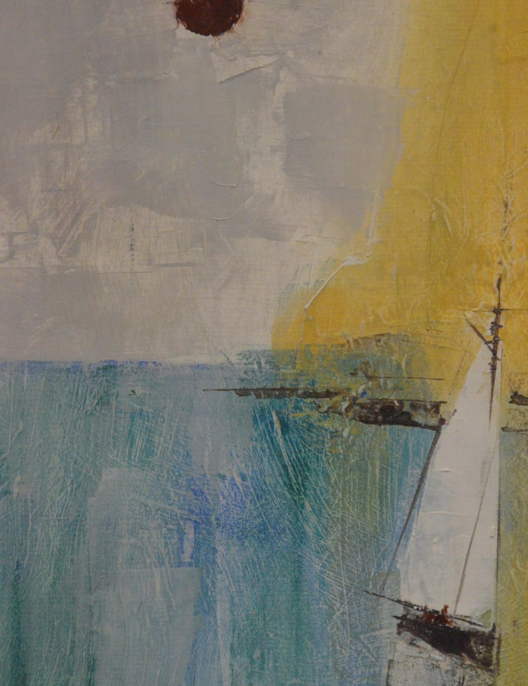 20th Century Pat Bowers Seascape Blue, Green & Yellow Mixed-Media Abstract Painting on Paper For Sale