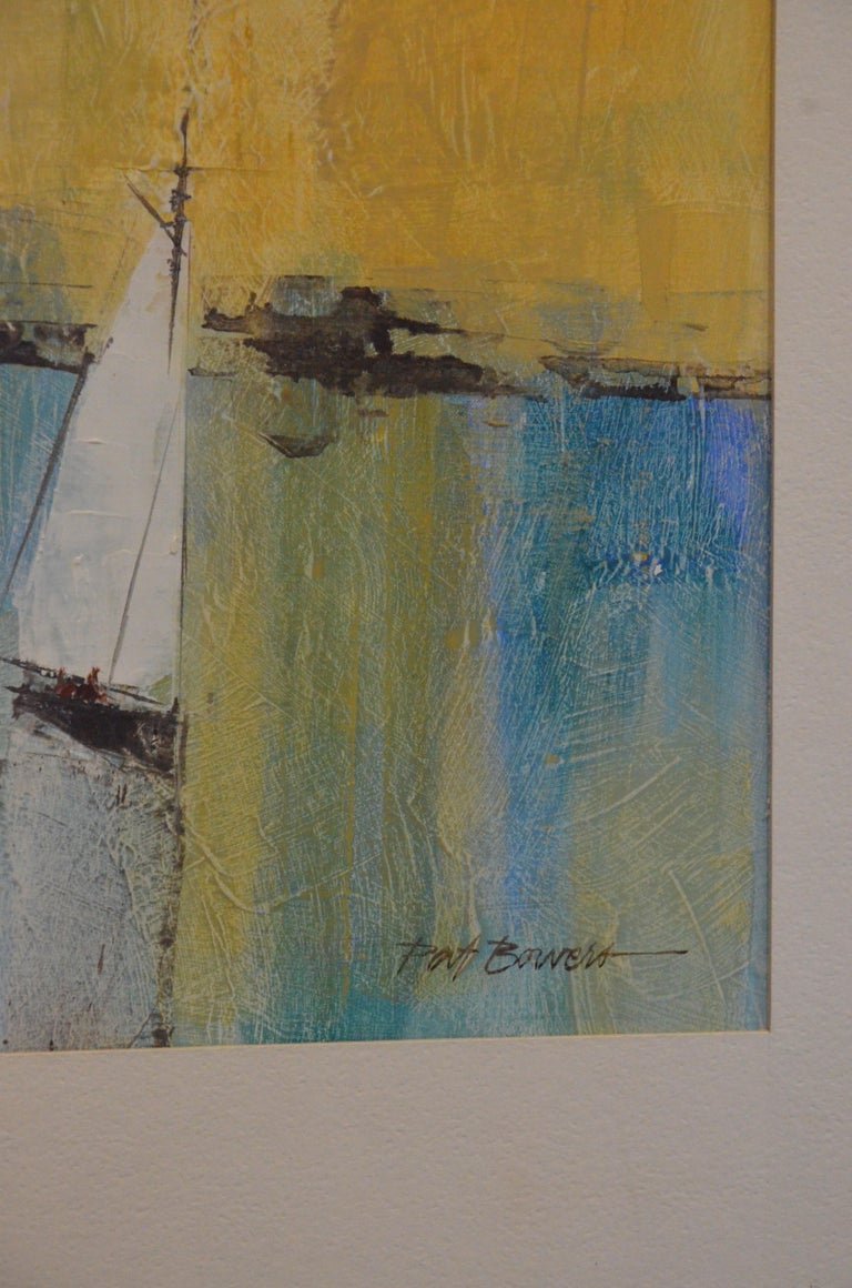 Metal Pat Bowers Seascape Blue, Green & Yellow Mixed-Media Abstract Painting on Paper For Sale