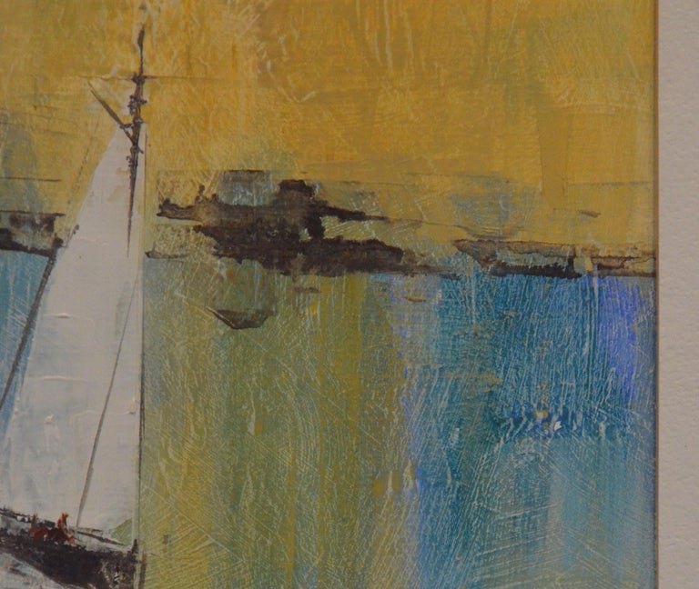 Pat Bowers Seascape Blue, Green & Yellow Mixed-Media Abstract Painting on Paper For Sale 1