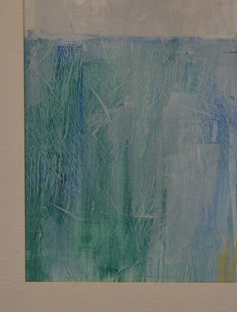 Pat Bowers Seascape Blue, Green & Yellow Mixed-Media Abstract Painting on Paper For Sale 2