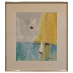 20th Century Mixed-Media Abstract Painting on Paper by Pat Bowers of a Seascape
