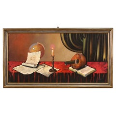 20th Century Mixed Media on Canvas Italian Painting Still Life, 1980