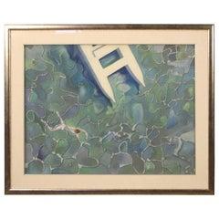 20th Century Mixed-Media on Canvas Italian Signed Sea Painting, 1970