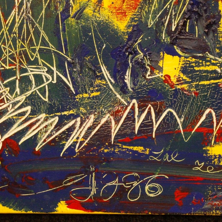 20th Century Mixed-Media on Canvas Modern Dated Dutch Abstract Painting, 1996 For Sale 8