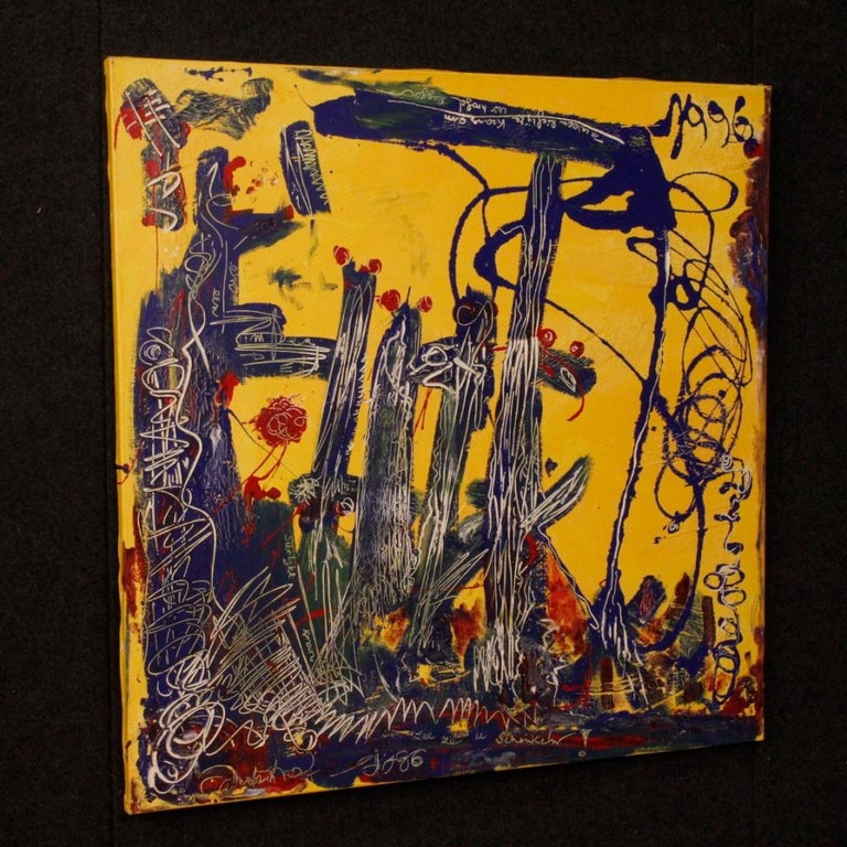 20th Century Mixed-Media on Canvas Modern Dated Dutch Abstract Painting, 1996 In Good Condition For Sale In Vicoforte, Piedmont