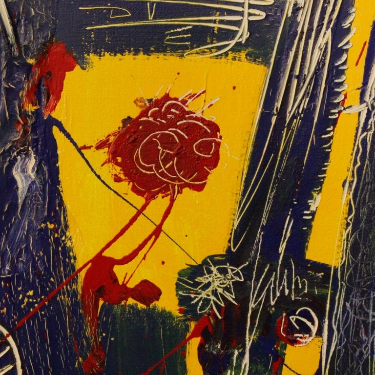 20th Century Mixed-Media on Canvas Modern Dated Dutch Abstract Painting, 1996 For Sale 2