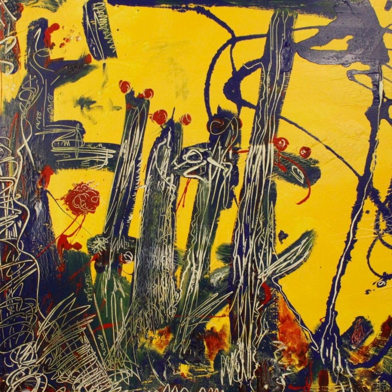 20th Century Mixed-Media on Canvas Modern Dated Dutch Abstract Painting, 1996 For Sale 4