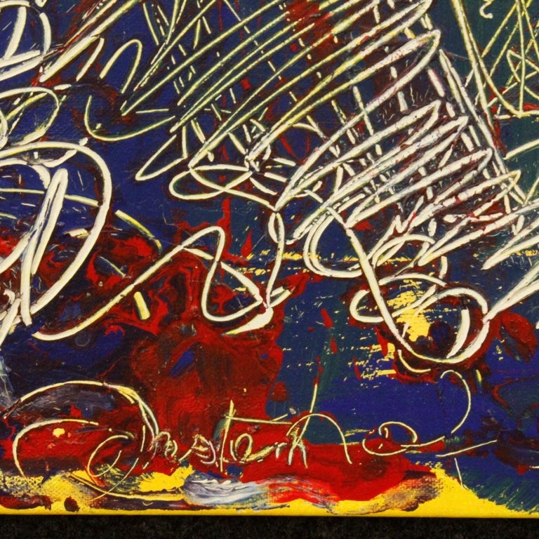 20th Century Mixed-Media on Canvas Modern Dated Dutch Abstract Painting, 1996 For Sale 5